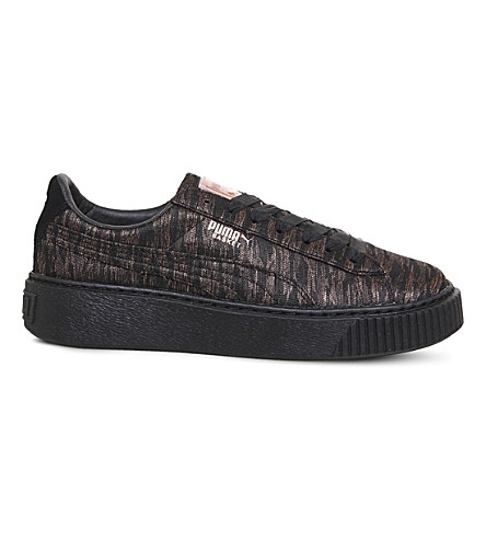 PUMA Basket platform metallic trainers (Black+mono+vr