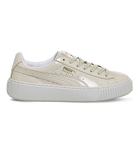 PUMA Basket patent-leather platform trainers (Oatmeal+white+patent