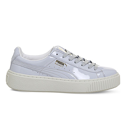 PUMA Basket patent-leather platform trainers (Lavender+white