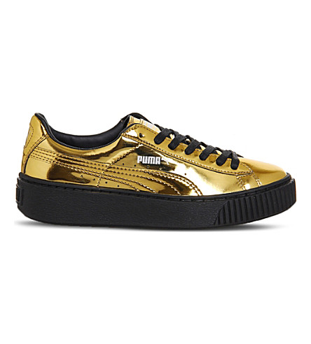 PUMA Basket platform metallic-leather trainers