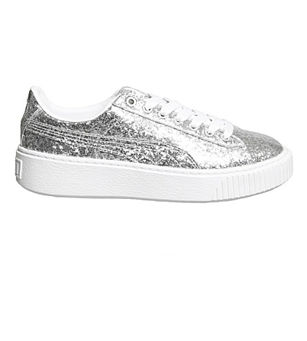 PUMA Basket glittered leather platform trainers (Silver glitter white