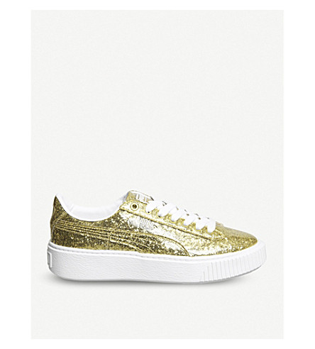 PUMA Basket glittered leather platform trainers (Gold glitter white
