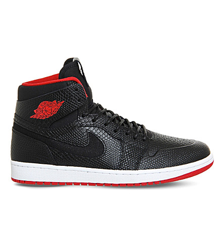 NIKE Air jordan 1 high noveau leather trainers (Black snake gym red