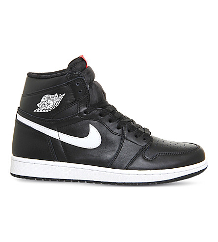 NIKE Air jordan 1 retro leather high-top trainers (Black white og