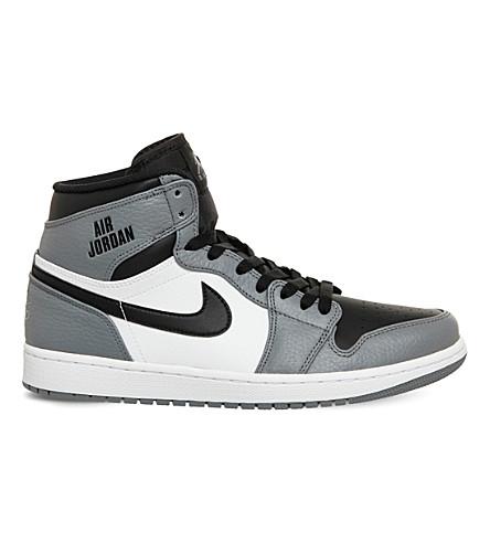 NIKE Air jordan 1 retro leather high-top trainers (Cool grey black