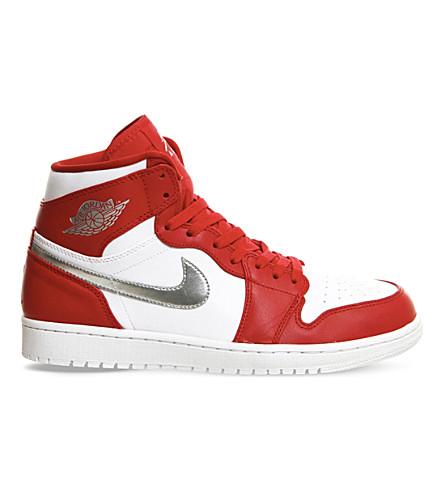NIKE Air Jordan 1 Retro leather high-top trainers (Red metallic silver