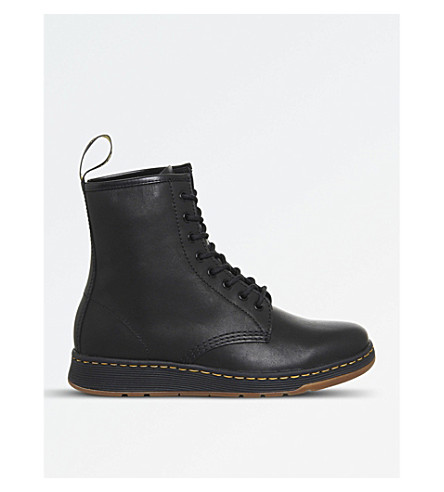 DR. MARTENS Newton 8-eye leather boots (Black+leather