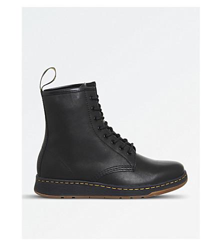 DR.8眼皮革靴子 (黑色 + 皮革)