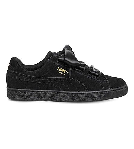 PUMA Suede Heart suede trainers (Black+satin+bow