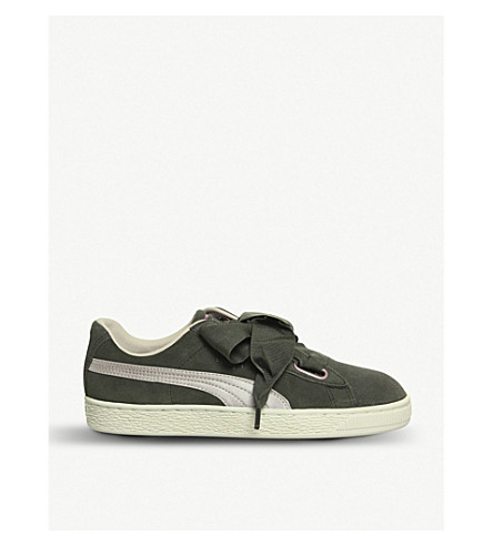PUMA Suede heart trainers (Olive+night+pink