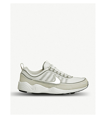 NIKE Zoom Spirindon leather and mesh trainers (White+silver
