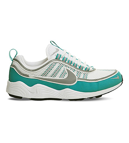 NIKE Zoom Spiridon leather and mesh trainers (White+silver+turbo