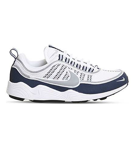 NIKE Zoom Spiridon leather and mesh sneakers (White+silver