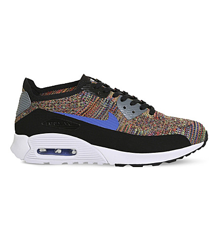 NIKE Air Max 90 Ultra flyknit trainers (Black+med+blue+multi