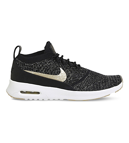 NIKE Air Max Thea Ultra flyknit trainers (Black+metallic+gold