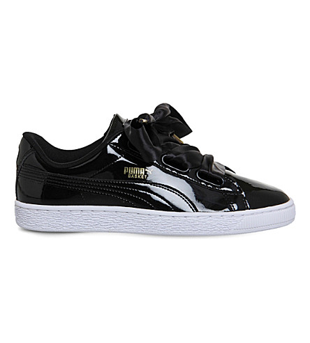 PUMA Basket Heart patent-leather trainers (Black+patent