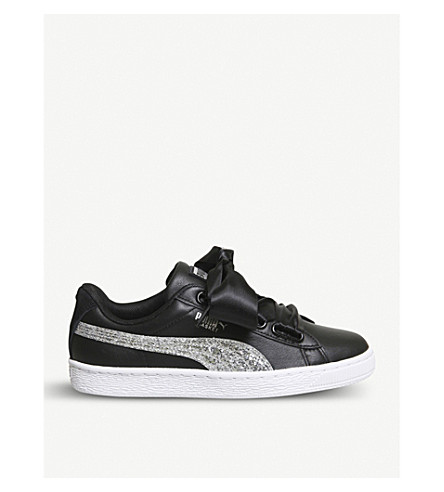 PUMA Basket Heart leather trainers (Black+silver+glitter