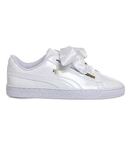 PUMA Basket Heart patent-leather trainers (White+patent