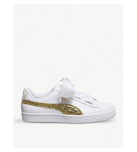 PUMA Basket Heart leather trainers (White+gold+glitter