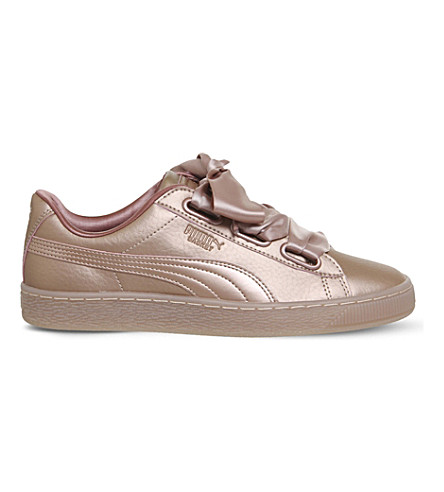 PUMA Basket Heart metallic-leather trainers (Rose+copper+metallic