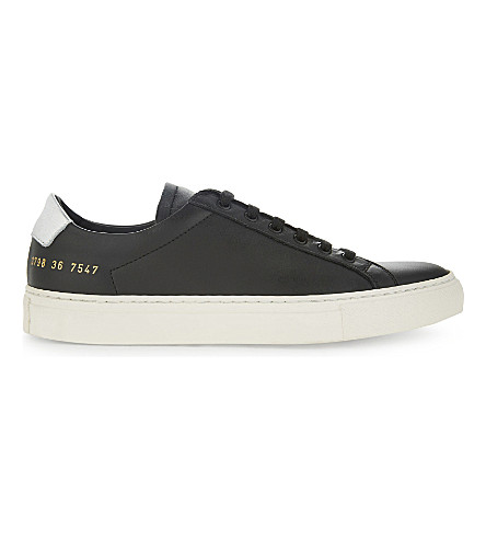 COMMON PROJECTS Achilles Retro low-top leather trainers (Black+silver