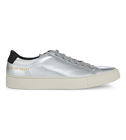 COMMON PROJECTS Achilles Retro metallic leather low-top trainers (Silver+black