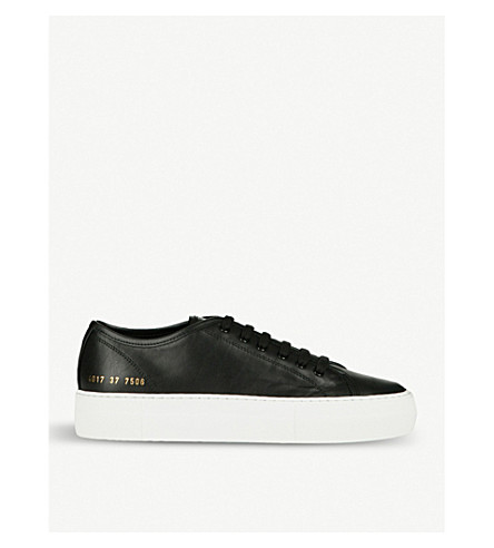 COMMON PROJECTS Tournament flatform leather trainers (Black+white