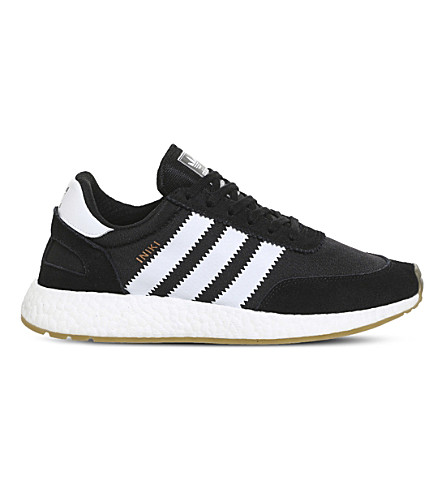 ADIDAS Iniki low-top suede and mehs trainers (Black+white+gum