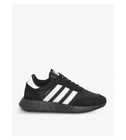 ADIDAS Iniki Runner stretch-mesh and suede trainers (Black+white+copper
