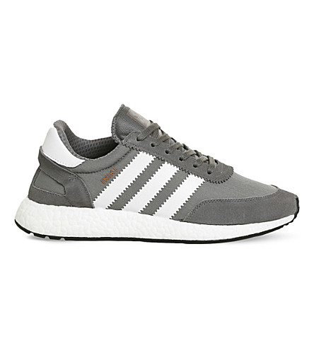 ADIDAS Iniki low-top suede and mesh trainers (Vista+grey+white