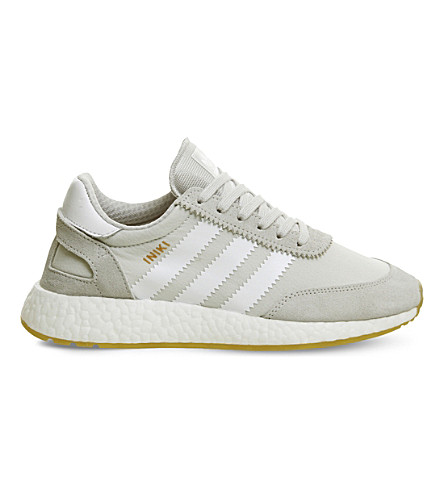 ADIDAS Iniki suede and mesh trainers (Grey+one+gum