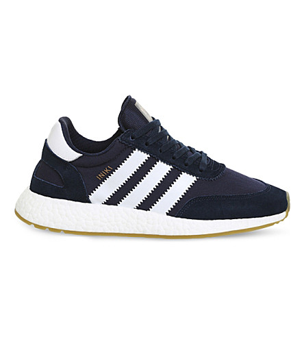 ADIDAS Iniki low-top suede trainers (Collegiate+navy+gum