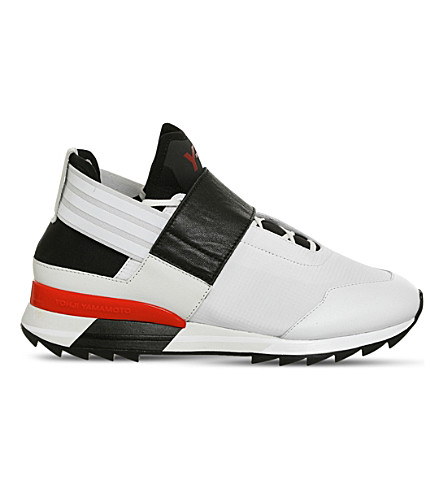 ADIDAS Y3 Atira textile and mesh trainers (White+black+scarlet