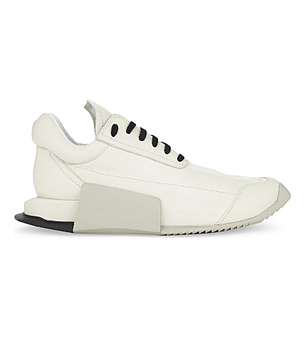 ADIDAS X RICK OWENS RO Level Runner leather trainers (Milk+black