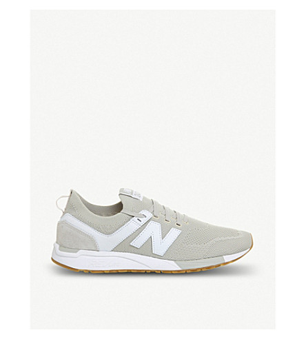 NEW BALANCE 247 leather-panelled stretch-knit trainers (Moonbeam+gum