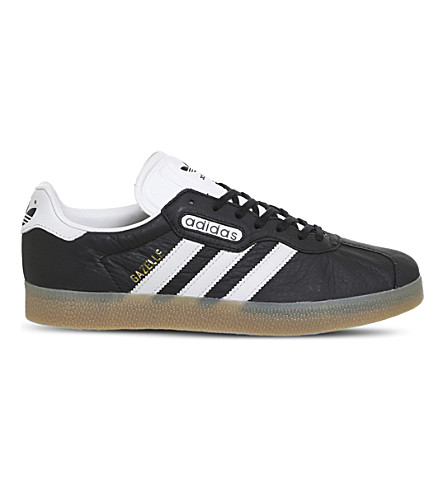 ADIDAS Gazelle Super leather trainers (Core+black+white+gum