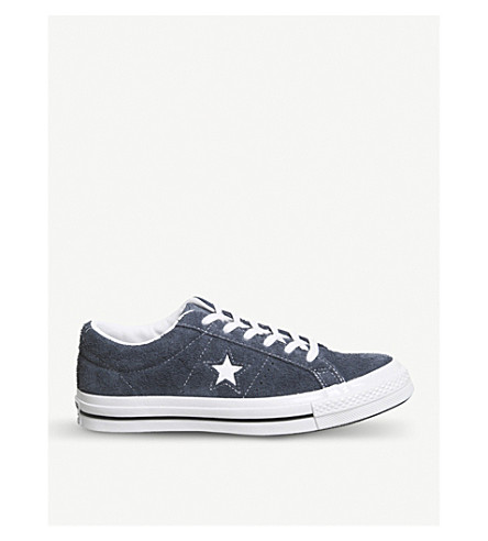 CONVERSE One Star low-top suede trainers (Obsidian+white
