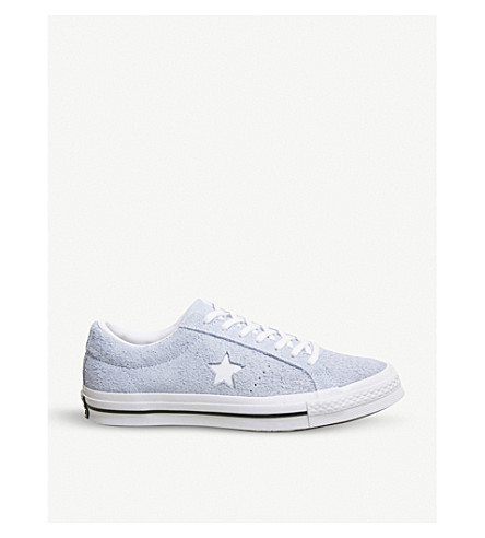 CONVERSE One Star suede low-top trainers (Blue+chill+white