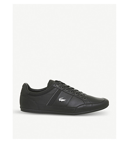 LACOSTE Chaymon leather trainers (Black+dark+grey