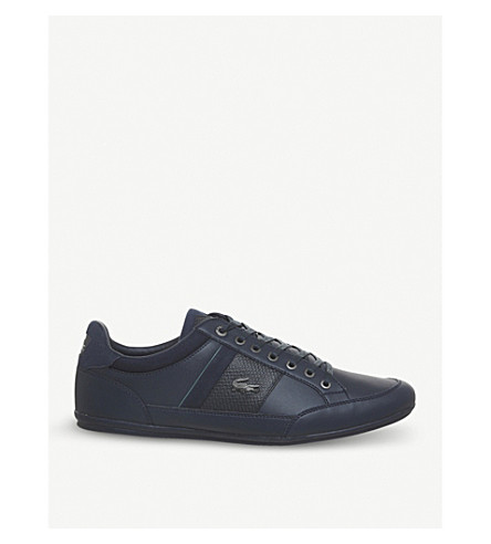 LACOSTE Chaymon low-top leather trainers (Navy+green