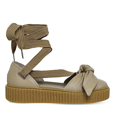 PUMA Bow creeper leather ballet sandals (Natural+fenty