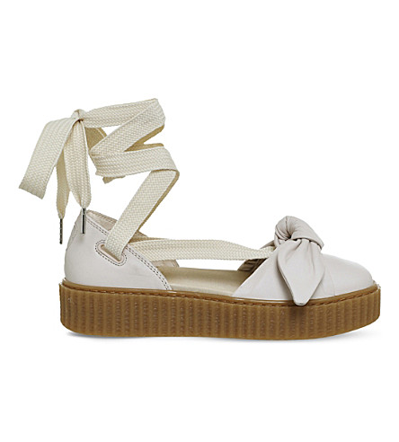 PUMA Bow creeper leather ballet sandals (Cream+fenty