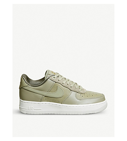 NIKE Air Force 1 '07 leather and suede trainers (Neutral+olive+white
