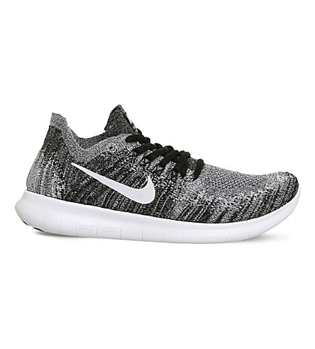 NIKE Free Run 2 Flyknit trainers (Black+white+volt