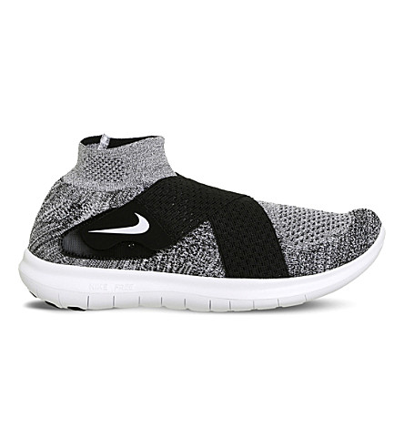 NIKE Free Run Flyknit trainers (Black+white