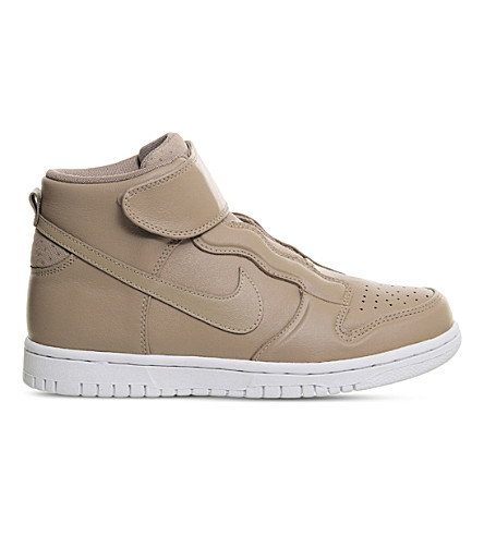 NIKE Dunk High Ease leather high-top trainers (Dusted+clay+white