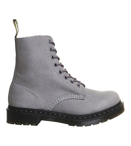 DR. MARTENS 8 eyelet nubuck leather boots (Grey-nubuck