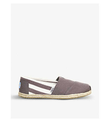 TOMS University striped canvas espadrilles (Grey
