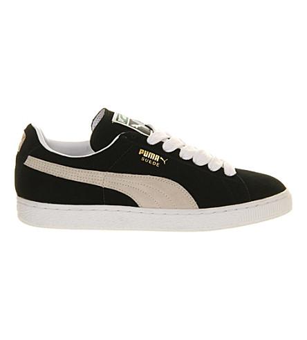 PUMA 麂皮绒经典运动鞋 (黑 + 白
