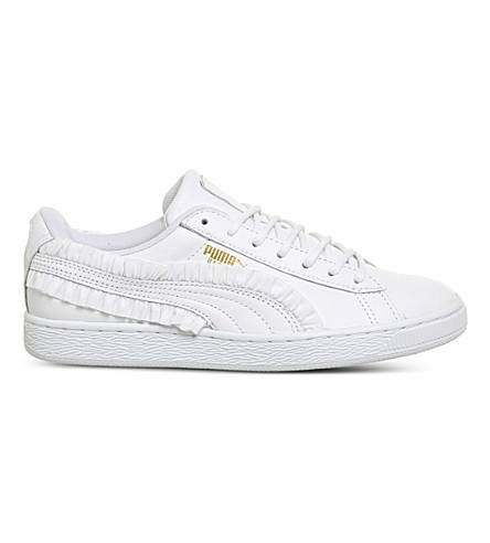 PUMA Basket Classic frill leather trainers (White+frill